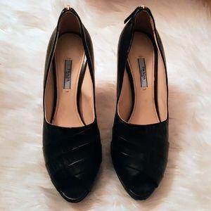 Prada Black Leather Peep Toe High Heels